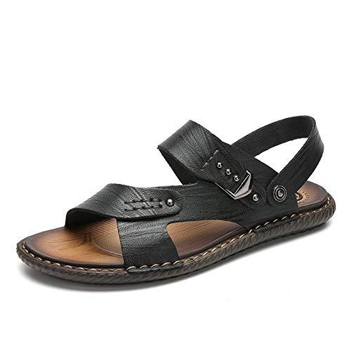 Apragaz Herren Sandalen Open Toe Lässige Leder Komfortschuhe Athletic Sandal Dual-Zweck Hausschuhe (Color : Schwarz, Größe : 41 EU) Athletic-open-toe-sandalen