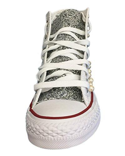 Converse All Star con mix di perle e tessuto glitter Bianco