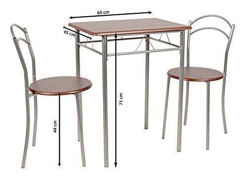 ts ideen Set 3 pezzi Tavolo 60x60 cm con 2 sedie in