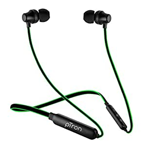 pTron Tangent Lite Bluetooth 5.0 Wireless Headphones with Hi-Fi Stereo Sound, 8Hrs Playtime, Lightweight Ergonomic Neckband, Sweat-Resistant Magnetic Earbuds, Voice Assistant & Mic - (Black & Green)