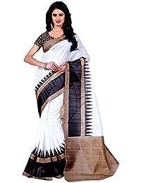 [Sponsored]Craftsvilla Women's Bhagalpuri Silk Printed Black & White Saree With Unstitched Blouse Piece
