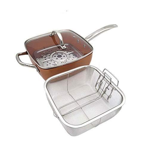 XIAOXINGXING Sweett Reats Kupfer Quadratische Pfanne Induktion Glasdeckel Bratkorb Mit Edelstahlgriff, Steam Rack 4-teiliges Set, 9,5 Zoll (Sheet Size : 16cm 25cm)