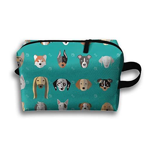 Dogs White Paw and Bone Portable Travel Makeup Bag,Storage Bag Portable Ladies Travel Square Cosmetic Bag