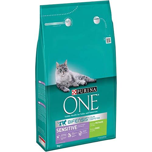 Purina ONE BIFENSIS Sensitive Katzentrockenfutter: reich an Truthahn & Reis, hohe Verträglichkeit bei Katzen mit empfindlicher Verdauung, mit Omega 6
