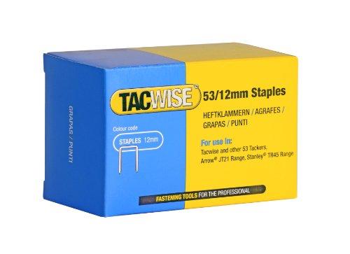 Tacwise Agrafes de Type 53 / 12 mm Galvanisées (Boîte de 5 000)