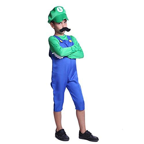 Gr.S Luigi Super Mario Klempner Kostuem Mario & Luigi fuer Kinder Jungen Maedchen Halloween Anzug Vidiogames (Kostüm Mädchen Luigi)