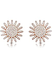 Izaara 92.5 Sterling Silver Rose Polish Earring Studded With American Diamond