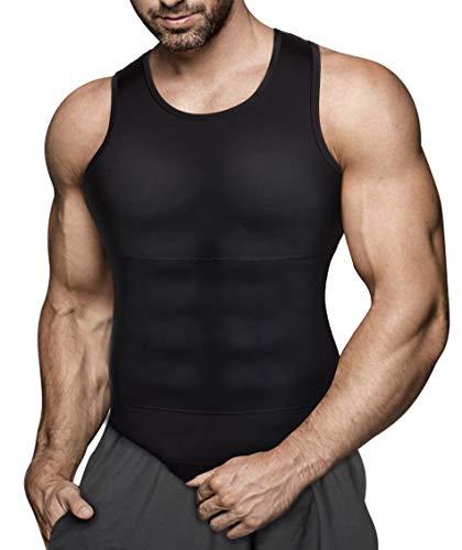 Gotoly Herren Unterhemden Shapewear Workout Tank Tops Kompressionsshirt Muskelshirt Abnehmen Body Shaper Abs Bauch Weg Shirt Unterhemd Feinripp (S, Schwarz) -