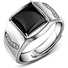 JiangXin Anillo de hombres Ónix negro Plata de ley 925 Tamaño ajustable