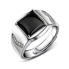 Idea Regalo - Jiangxin Anello maschile Onice nero 925 sterline d'argento Dimensione regolabile