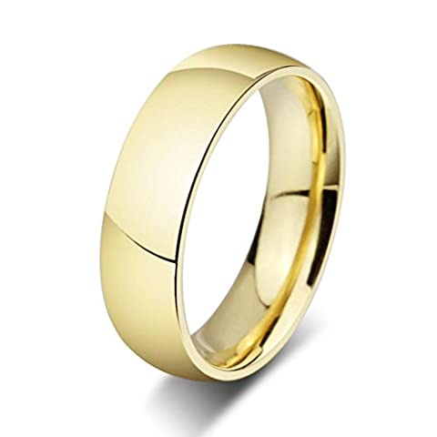AMDXD Jewelry Edelstahl 18 k Gold Lovers'Ring/Ehering Hochglanz-Finish