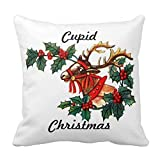 beautytt Cupid Christmas Pillow Case Decorative Square Throw Pillow Covers for Couch Square Zippered Pillow Sham for Sofa and Couch 18 x 18