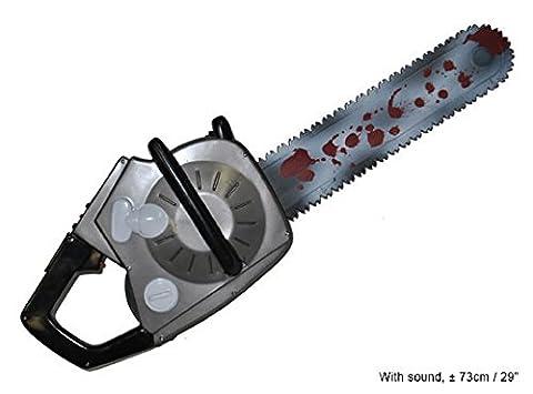 Kettensäge ca. 70cm mit Sound und Schütteleffekt mit blutiger Säge Spielzeug Halloween Karneval (Blutige Kettensäge)
