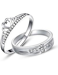 Gullei. com grabado hombres mujeres plata esterlina de anillos de compromiso para 2