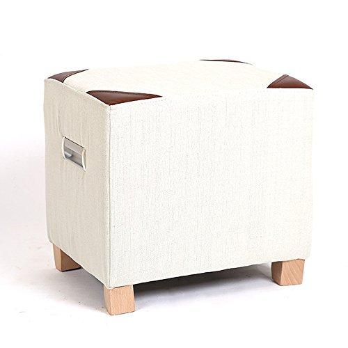 FEIFEI Tabouret en bois massif + lin coton moderne canapé tabouret Tabouret maison en bois massif tabouret tabouret (Couleur : Blanc)