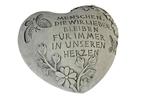 floristikvergleich.de Casa Collection 11244 Herz fürs Grab in steinoptik mit Text, 25 x 25 cm