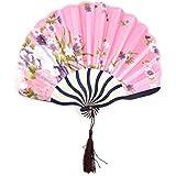 SLB Works Polyester Floral Print Home Tassel Decor Handmade Handheld Hanging Hand Fan Pink