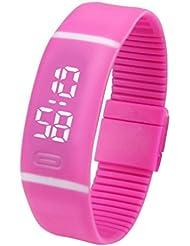 Yogogo Des femmes des hommes de sport montre-bracelet en caoutchouc LED Watch date Bracelet numérique (Rose vif, :5*1.8cm)