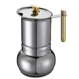 GAT Amore - Stove Top Espresso Coffee Maker - Stainless Steel with Gold-Plated handle and Knob - Various Sizes