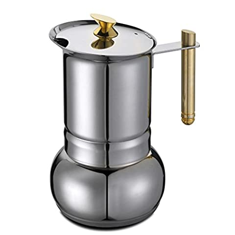 GAT Amore - Stove Top Espresso Coffee Maker - Stainless Steel with Gold-Plated handle and Knob - 6 to 4 Cups