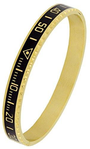 The Jewelbox Speedometer Biker Motor Cycle Stainless Steel Black Gold Plated Openable Bangle Cuff Kada Bracelet Men