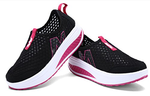 NEWZCERS maglia di estate delle donne slip-on di lavoro della piattaforma scarpe fitness fuori scarpa da tennis Nero