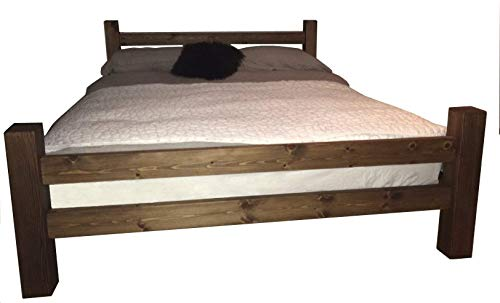 HANDMADE SOLID REDWOOD CHUNKY WOOD LOW MODERN SINGLE DOUBLE SUPER KING SIZE BED FRAME