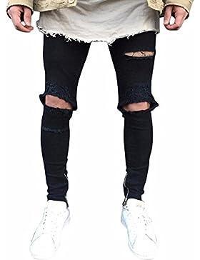 Hombres Slim Fit Deportes Pantalones Denim Straight Vaqueros Rectos Lagrimeo Agujeros En El Estilo Pantalones...