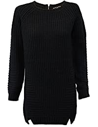 Ladies Jumper Heart & Soul Womens Cable Knitted Long Sweater Zip Crew Winter New