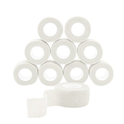 QiGui 10 Rollen Selbsthaftende Cohesive Bandage Haftbandage Verband Fixierverband elastische Binde Pflasterverband Fingerpflaster 2.5cm X 4.5m (Weiß)