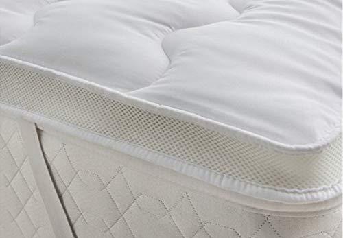 Deluxe Beddings Moderne Matratzenauflage mit Temperaturregulierung, 5 cm, Mikrofaser, Hohlfaser-Füllung, 5 Größen, Polycotton, Multi, King Size