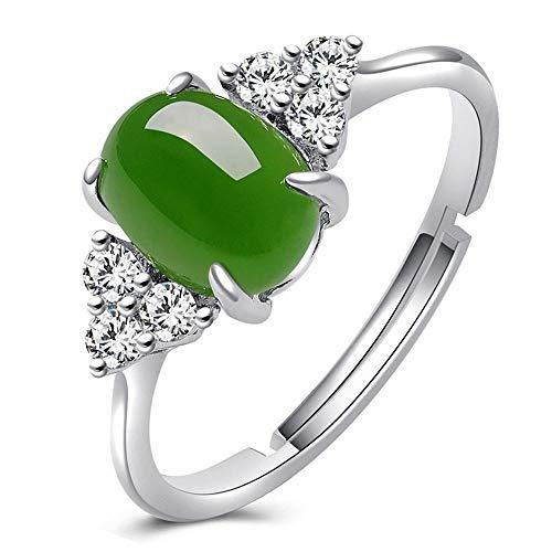 330d105ba88b Mayanyan S925 Anillo de Plata Esterlina Clásico Natural Verde Jade Anillo  de Compromiso Jade Tamaño 6   8 Anillo de Regalo de Señoras