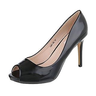 Peep Toe Damen-Schuhe Peep-Toe Pfennig-/Stilettoabsatz High Heels Ital-Design Pumps Schwarz, Gr 38, 1281-Gl-