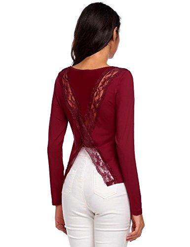 Chigant Damen Langarm Shirt Spitze-Patchwork Bluse Rückenfreie Oberteile mit Schlitz Weinrot