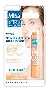 Mixa Intensif Peaux Sèches - Soin des Lèvres Nourrissant CC au Beurre de Karité Teinte Nacrée - 4.7 ml