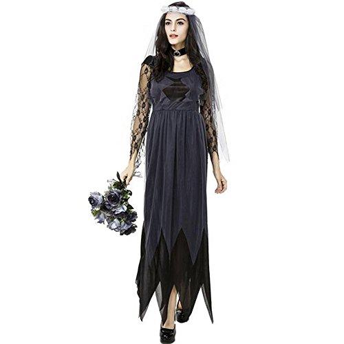 (KINDOYO Halloween kostüm Damen Zombie Braut Leiche Vampir Gruseliger Effekt Kleid)
