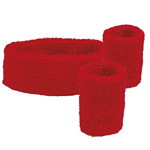 Boland 01892 3 Schweißbänder, One - Rote Kostüm Zubehör