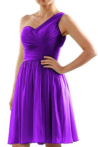 MACloth Women One Shoulder Short Chiffon Wedding Bridesmaid Dress Made-to-Order purple