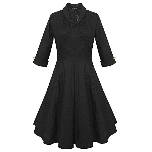 DaBag Elegant V-kragen Retro Falten Rock Revers Reine farbe Kleid 3/4 Ärmel Knie-Länge große Swing Kleid (S, Schwarz)