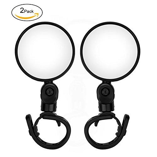 Tofree Fahrradspiegel Klappbarer Fahrrad Spiegel Fahrradrückspiegel Schwarz großer Durchmesser Verstellbar & Klemm-Montage