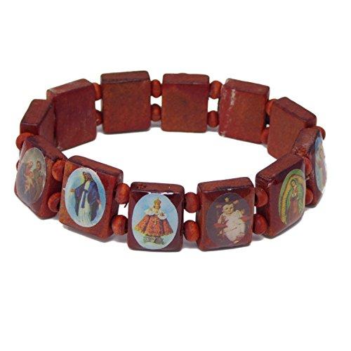 R Heaven - Brown santos católicos religiosos imágenes jesus pulsera del estiramiento...
