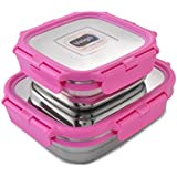 Veigo Lock N Steel 100% Air Tight 2 Pcs Container, Pink