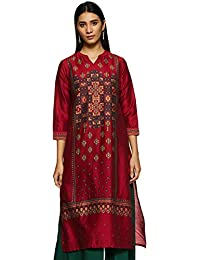 Global Desi Women's synthetic straight Kurta
