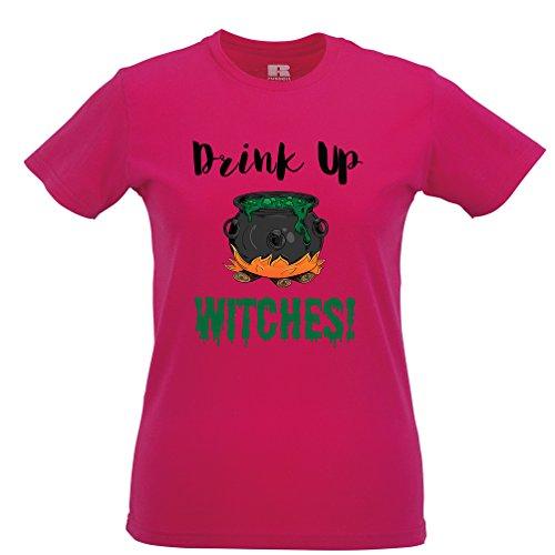 Getränk oben Hexen Gedruckt Slogan Zitat Design Premium-Qualität Frauen T-Shirt