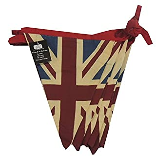 EHC 100% Cotton Double Sided Vintage Style Union Jack Festival Bunting-5 Meters Approx, Fabric Blue