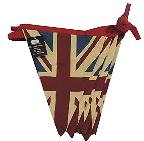 EHC 5 m 100 Percent Cotton Double Sided Vintage Style Union Jack Festival Bunting, Blue
