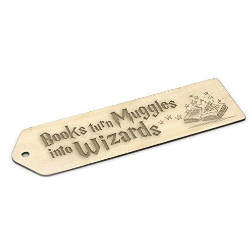 Marcapáginas de madera inspirado en Harry Potter, regalo grabado, color Muggles into Wizards 7