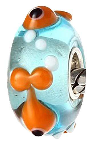 terling Silber Murano Glas Bead Charm TIERWELT Nemo Fisch Element Kugel für Bettelarmbänder + Organzasäckchen ()