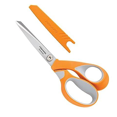 Fiskars 8195 RazorEdge Ciseaux Tissu Poignée Softgrip pour Droitiers Orange