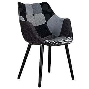 ZUIVER Fauteuil ELEVEN patchwork gris et noir.